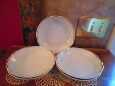 Vintage Modern China HEIRLOOM 5 Salad Soup Cereal BOWLS White Platinum Rim BNOS