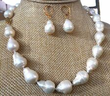Pearl Necklace Earrings 14k Gold-plated 12x16Mm White South Sea Baroque