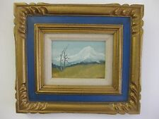Original Landscape Signed Framed Painting Mt. Hood by Winegar Small Oil on Board