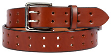 Medium Brown Leather Belt with a Lifetime Warranty. 2 prong Made in the USA