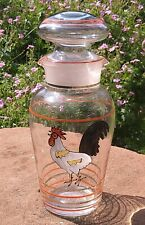 More details for vintage hand painted art glass cocktail decanter / shaker retro cockerel rooster