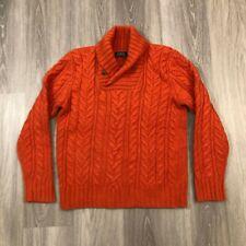 Polo Ralph Lauren Mens Medium Merino Wool Angora Rabbit Hair Cable Knit Sweater