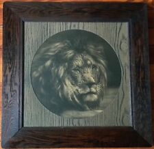 ANTIQUE LION ENGRAVING LARGE FRAME SAFARI HUNTING LODGE DECOR JUNGLE LEO ZODIAC