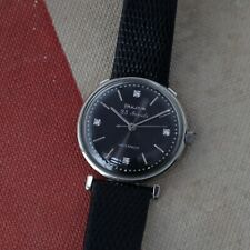 1960 Vintage Bulova 23 Stainless Automatic Mens Watch Glossy Textured Blk Dial