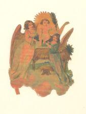 German Die-Cut Angel Embossed Christmas Ornament Scrap Cherub Antique 1900's