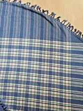 "84"" ROUND Blue Green White Plaid Cotton Tablecloth EXCELLENT CLEAN"