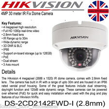 HIKVISION 4MP 2.8mm 1080P POE ONVIF WDR IP Dome Camera DS-2CD2142FWD-I UK Seller