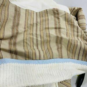 Custom Kids Over the Moon Crib Dust Ruffle Brown Stripes Blue Gingham White