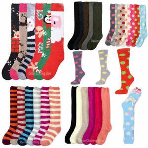 3 Pair Women's Knee High Warm Winter Socks Soft Fuzzy Cozy Slipper Long Fleece