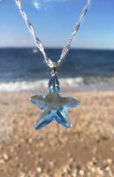 Swarovski Elements Aquamarine Crystal Starfish and Sterling Silver Necklace