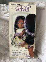 RARE 70's Vintage Ideal Daisy Black  Doll Velvet Crissy Box Original Dress Works