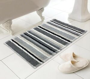 LUXURY SUPERSOFT BOBBLE STRIPE BATH SHOWER BATHROOM MAT THICK WASHABLE ABSORBENT