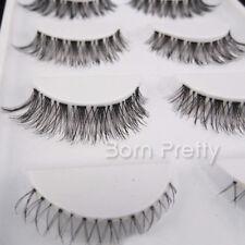 5 Pairs Handmade Natural Soft Black Seamless Top & Bottom False Eyelash #HW-60