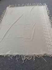 Antique Cream Piano Shawl Throw Wrap Table Cloth Embroidered Detail