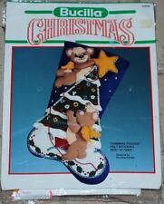 Bucilla TRIMMING TEDDIES Felt Christmas Stocking Embroidery Kit 82608 NIP