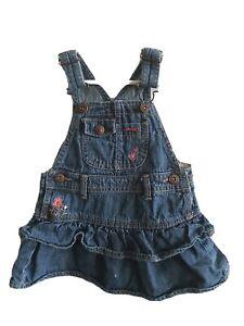 Osh Kosh B Gosh Toddler Girls Blue Ruffle Denim Jean Jumper Dress Size 12 Months