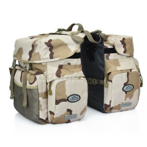 50L Canvas +PU Leather Motorcycle Bicycle Pannier Side Bags Saddlebags