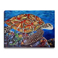 Sea Turtle Print Canvas Wall Art Framed Pictures for Bathroom Living Room Decor