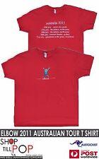 ELBOW 2011 Australian Tour T shirt Red UNISEX Mens XL T shirt BNWOT Music UK