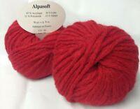10 pelotes de laine  alpaga  rouge    - extréme douceur  - Fabriqué en France