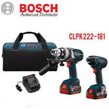 "Bosch CLPK222-181 18V 1/2"" Hammer Drill/Driver-1/4"" Hex Impact Driver Combo Kit"