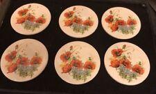 6 H&R Johnson 9cm Round Circular Tiles / Plaque Coasters Orange Flowers Floral G