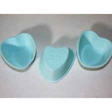 Juego de 3 Mini Molde para hornear silicona Corazón Azul Pasteles Cupcake Forma