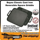 """Cast Iron 14"""" Reversible Square Griddle by Bayou Classic Camping Backyard 7442"""