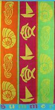Betz Serviette de plage en velours 100% coton, taille 70x140 cm, dessin: SUMMER