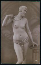 French nude woman Art Deco turban flapper original old 1920s photo postcard