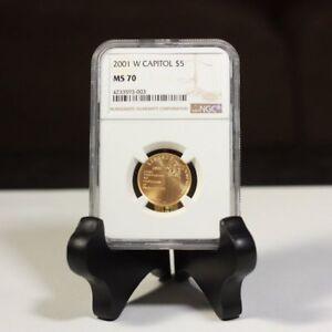 2001 W Capitol $5 Gold NGC MS70 ***Rev Tye's Stache*** #3003700