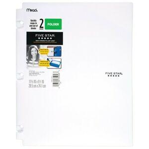 Five Star Snap-in Plastic Folder for Binders 2 Pocket White- 4 pack
