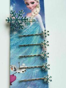 Women Girl Kids Frozen Blue Crystal Snow Flake Elsa inspired Hair Pin Clips