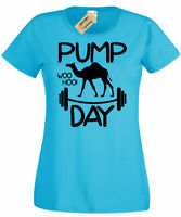 Womens Pump Day WooHoo T-Shirt Graphic Workout Gym Fitness ladies top tee