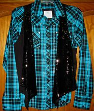 GIRLS JUSTICE SIZE 18 BLACK SEQUINED VEST & PLAID TOP W. SILVER METALLIC THREAD