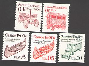 US. 2451, 2452, 2453, 2454, 2457. Transportation Coils. Lot of 5. Mint. NH.
