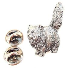 Persian Cat Handcrafted in Solid Pewter in Uk Lapel Pin Badge