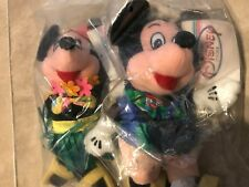 """Tourist Mickey & Hula Minnie Mouse Official Disney Parks Bean Bag Plush NEW 8"""""""