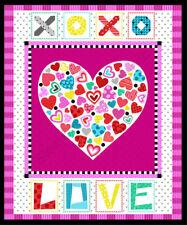 """Heart XO Love Romance Valentines Cotton Fabric Studio E Big Love 35""""X44"""" Panel"""