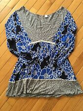#12 Anthropologie Ric Rac Blue Black Floral Top Shirt Blouse S Small