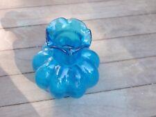 Blue Glass Ruffled Shaped Vase  00004000