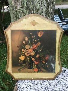Lg Vintage Italy Gold White Floral Wall Plaque Florentine Antique Print Unique