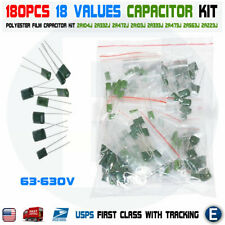180pcs 18 Values Polyester Film Capacitor Assortment Electrolytic Kit 63 630v