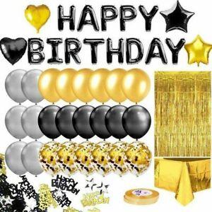 46pcs Decoration Set Letter Happy Heart Balloon Birthday Party Decor Tablecloth