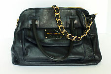 MARC JACOBS Navy & Black Leather Purse With Gold Hardware, Gold Chain & Dust Bag