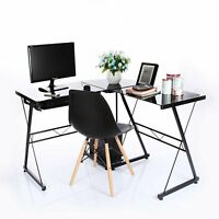 L-Shaped Corner Glass/Metal Computer Desk PC Table Home Office Study Workstation