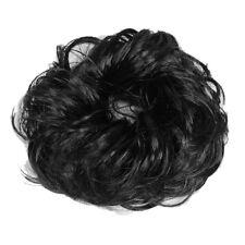 Frauen Schwarz Peruecke Knospe Kopfring Pferdeschwanz Haarteil J8P9