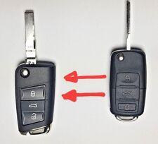 CONVERT NEW VW GOLF MK7 BEETLE POLO PASSAT  3 BUTTON FLIP REMOTE KEY FOB CASE