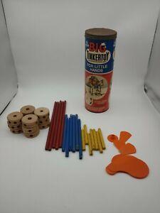 VINTAGE WOODEN 1960's BIG TINKERTOYS Construction Set For Little Hands 38 Piece