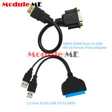 """USB 3.0 To SATA Hard Disk 22Pin Driver 2.5""""Adapter+HDMI Male To VGA Female Cable"""